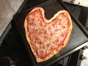 Blake made a special pizza for the kids.
