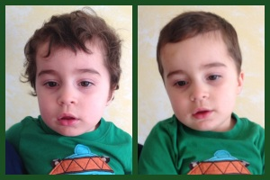 Ben got a haircut.  This is here before and after photos.
